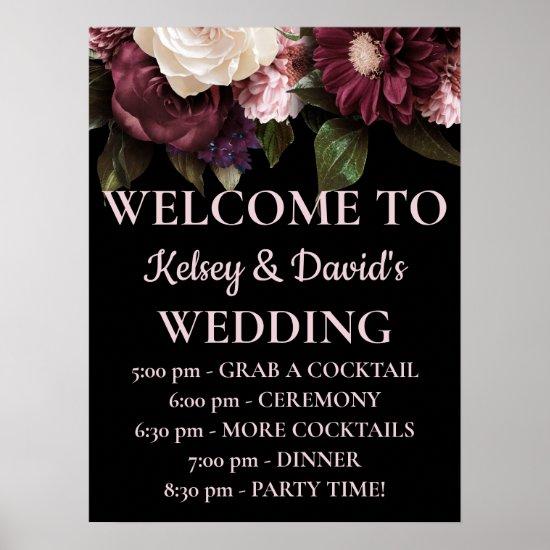 Burgundy & Pink Floral Wedding Details Welcome  Poster