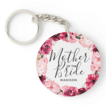 Burgundy & Pink Floral Wreath Mother of the Bride Keychain
