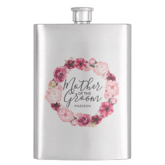 Burgundy & Pink Floral Wreath Mother of the Groom Flask