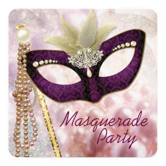 """Burgundy Pink Masquerade Party 5.25"""" Square Invitation Card"""