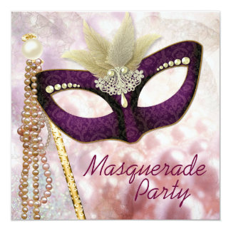 Burgundy Pink Masquerade Party Invitations