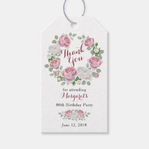 Burgundy Pink Rose Floral 80th Birthday Thank You Gift Tags