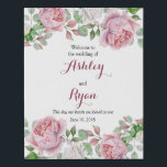 "Burgundy Pink Rose Floral Wedding Welcome Faux Canvas Print<br><div class=""desc"">Burgundy and pink chic country rose floral wedding welcome faux canvas print. This pink and white roses personalized wedding welcome faux canvas sign is a good choice for a summer wedding engagement or a fall / autumn wedding engagement. Although, you can also use it for a spring or winter wedding...</div>"