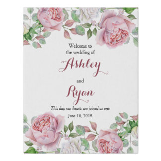 Burgundy Pink Rose Floral Wedding Welcome Faux Canvas Print
