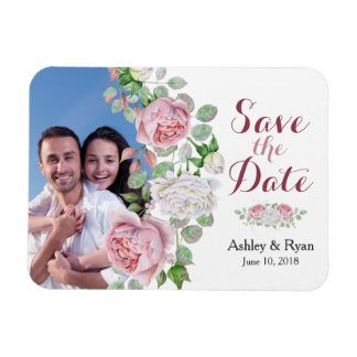 Burgundy Pink Rose Photo Wedding Save the Date Magnet