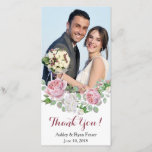 """Burgundy Pink Rose Wedding Thank You<br><div class=""""desc"""">Burgundy and pink chic country rose floral wedding thank you photocard. This pink and white roses photo template wedding thank you card is a good choice for a summer wedding or a fall / autumn wedding. Although, you can also use this wedding thank-you photo card for a spring or winter...</div>"""