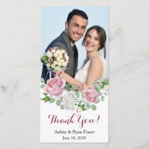 Burgundy Pink Rose Wedding Thank You