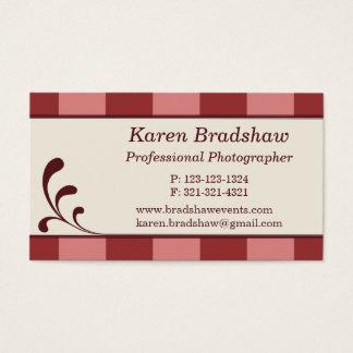 Burgundy & Pink Stripes Photographer Business Card