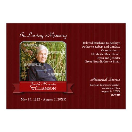Personalized in memoriam invitations custominvitations4u burgundy pinstripe banner memorial notice custom invite stopboris Images
