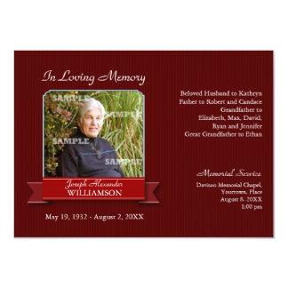 "Burgundy Pinstripe Banner Memorial Notice 4.5"" X 6.25"" Invitation Card"