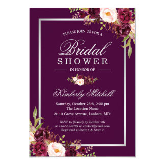 Burgundy Plum Purple Flowers Autumn Bridal Shower Card