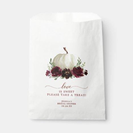 Burgundy Pumpkin Fall Favor Bag Love is Sweet