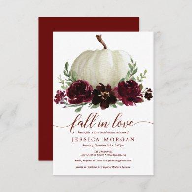 Burgundy Pumpkin Fall in Love Bridal Shower Invite