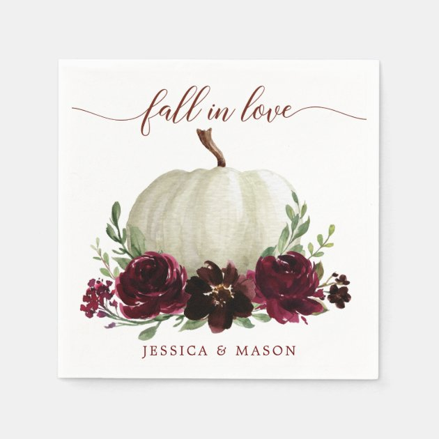 Burgundy Pumpkin Fall Wedding Cocktail Napkin Zazzle Com