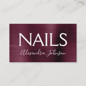 Burgundy Purple Brushed Metal Nail Salon Business Card