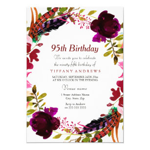 Burgundy Purple Floral 95th Birthday Party Invite