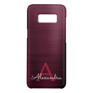 Burgundy Purple Modern Stainless Steel Monogram Case-Mate Samsung Galaxy S8 Case