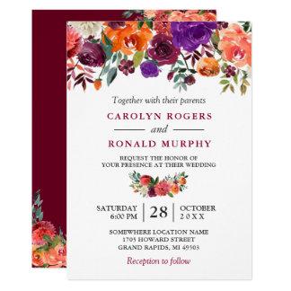 Burgundy Purple Orange Red Floral Wedding Invitation