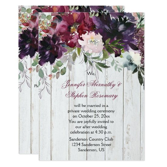 Burgundy Purple Pink Floral Wedding Reception Only Invitation