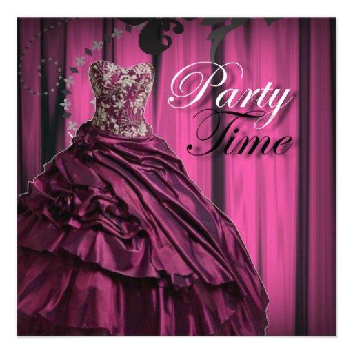 burgundy purple Prom Dress Birthday Invitation from Zazzle.com