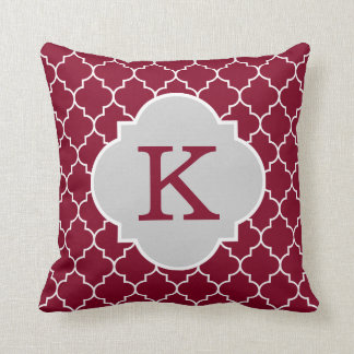 Burgundy Quatrefoil Monogram Throw Pillow
