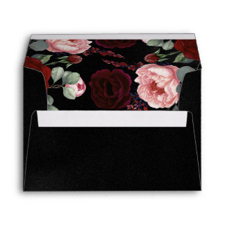 Burgundy Red and Black Floral Wedding Envelope