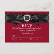 Burgundy Red and Black Lace & Pearl Bow RSVP