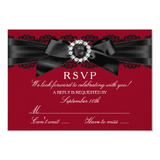 Burgundy Red and Black Lace & Pearl Bow RSVP 3.5x5 Paper Invitation Card
