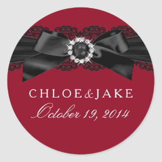 Burgundy Red and Black Pearl Bow Sticker