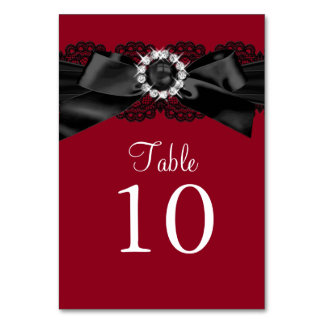 Burgundy Red and Black Pearl Bow Table Number Card