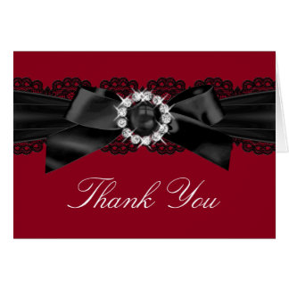 Burgundy Red and Black Pearl Bow Thank You Card