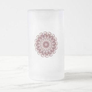 Burgundy (red and blue) rosette #1 design frosted glass beer mug