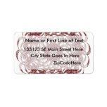 Burgundy (red and blue) rosette #1 design custom address labels