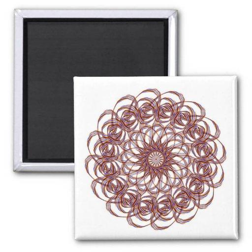 Burgundy (red and blue) rosette #1 design refrigerator magnet