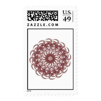 Burgundy (red and blue) rosette #1 design postage stamps