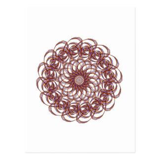 Burgundy (red and blue) rosette #1 design postcard