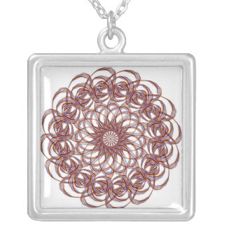 Burgundy (red and blue) rosette #1 design square pendant necklace
