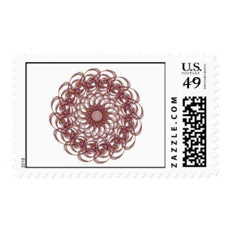 Burgundy (red and blue) rosette #1 design stamps