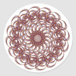 Burgundy (red and blue) rosette #1 design classic round sticker
