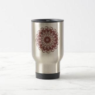 Burgundy (red and blue) rosette #1 design travel mug
