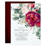 Burgundy Red and Blush Floral Elegant Boho Wedding Invitation