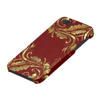 Burgundy Red And Gold Girly Floral Design Covers For iPhone 5
