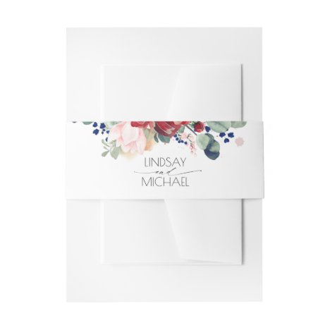 Burgundy Red and Navy Blue Floral Wedding Invitation Belly Band