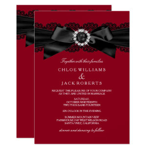 Burgundy Red Black Pearl Bow Wedding Invite