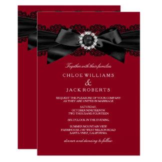 Burgundy Red & Black Pearl Bow Wedding Invite