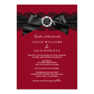red and black invitations  announcements  zazzle, Wedding invitations