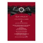 "Burgundy Red & Black Pearl Bow Wedding Invite 5"" X 7"" Invitation Card"