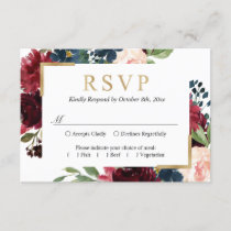 Burgundy Red Blue Blush Floral Wedding RSVP