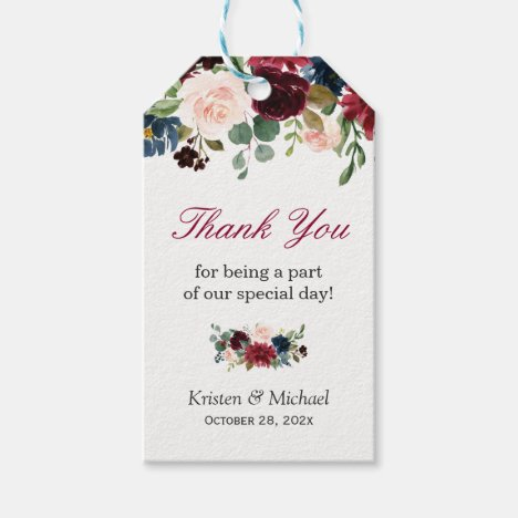 Burgundy Red Blue Floral Wedding Favor Thank You Gift Tags