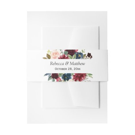 Burgundy Red Blush Blue Floral Wedding Invitation Belly Band